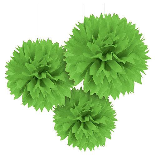 Kiwi Green Tissue Pom Poms 3ct Image #1