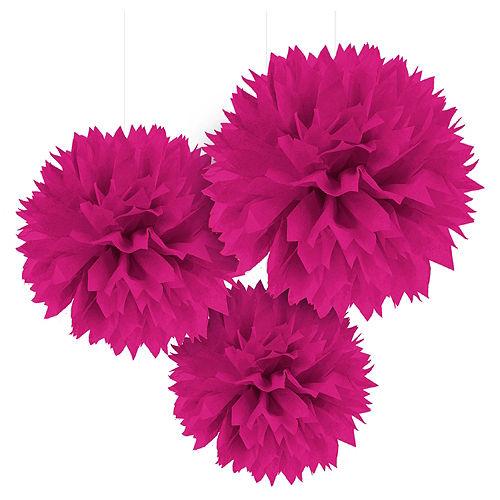 Bright Pink Tissue Pom Poms 3ct Image #1