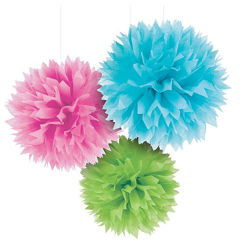 Multicolor Tissue Pom Poms 3ct Image #1