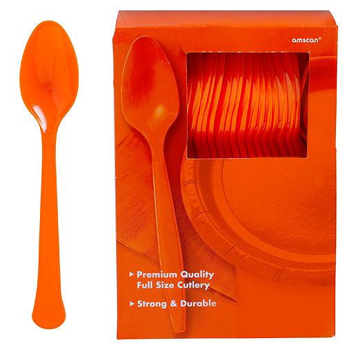 Big Party Pack Orange Premium Plastic Spoons 100ct Image #1