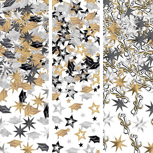 Black, Gold & Silver Graduation Confetti 3pk Image #1