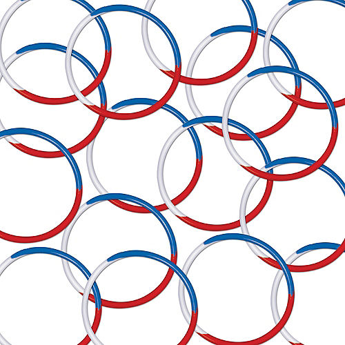 Patriotic Red, White & Blue Rubber Bracelets 16ct Image #1