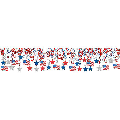 Patriotic American Flag Swirl Decorations 30ct Image #1