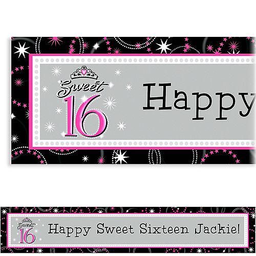 Custom Sparkle Sweet 16 Birthday Banner 6ft Image #1