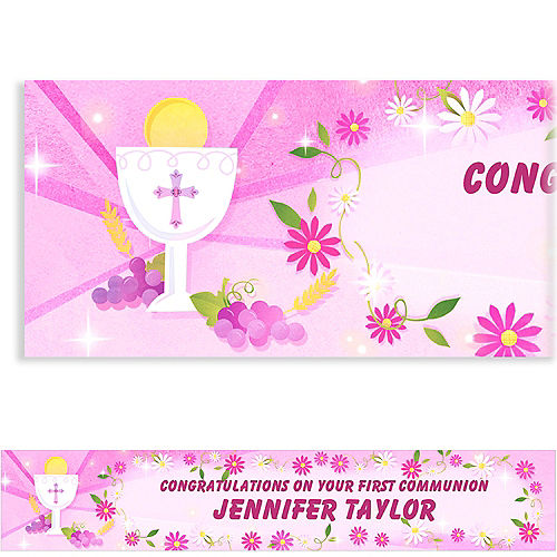 Custom Pink First Communion Banner 6ft Image #1
