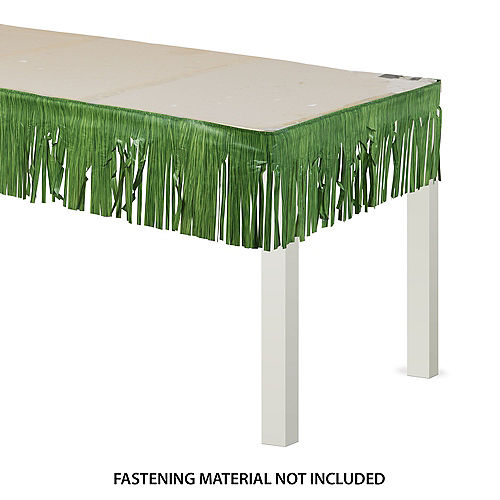 Green Faux Grass Plastic Fringe Table Skirt, 50ft x 10in Image #1