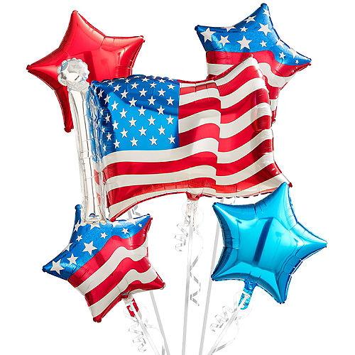 American Flag Balloon Bouquet 5pc Image #1