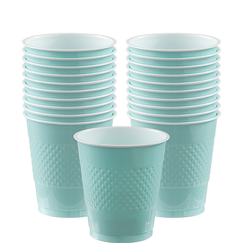 Robin's Egg Blue Plastic Cups 20ct Image #1