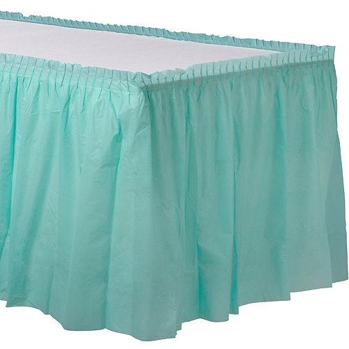 Robin's Egg Blue Plastic Table Skirt Image #1