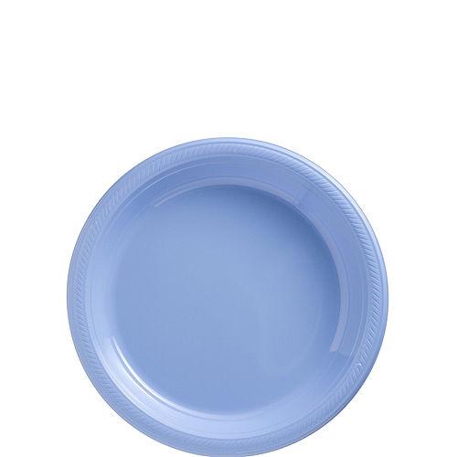 Pastel Blue Plastic Dessert Plates, 7in, 50ct Image #1