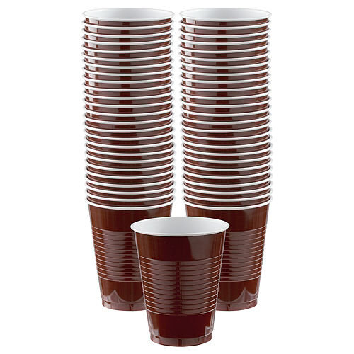 Chocolate Brown Plastic Cups, 16oz, 50ct Image #1
