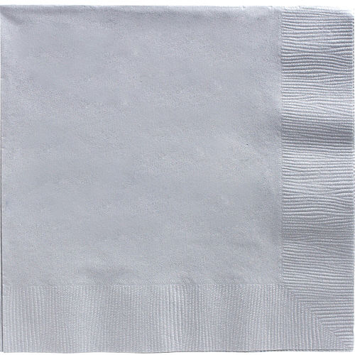 Silver Paper Dinner Napkins, 7.6in, 40ct Image #1