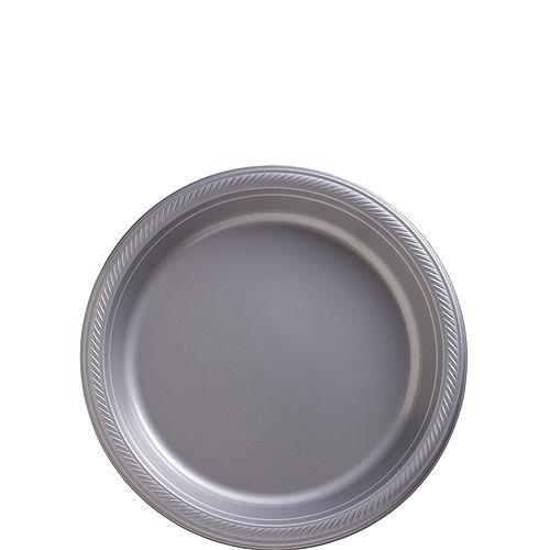 Silver Plastic Dessert Plates, 7in, 50ct Image #1