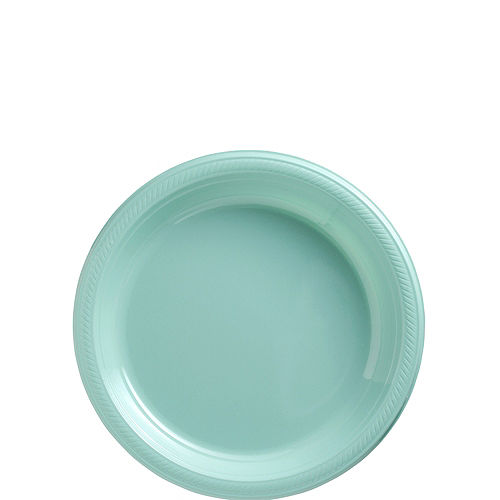 Robin's Egg Blue Plastic Dessert Plates, 7in, 50ct Image #1