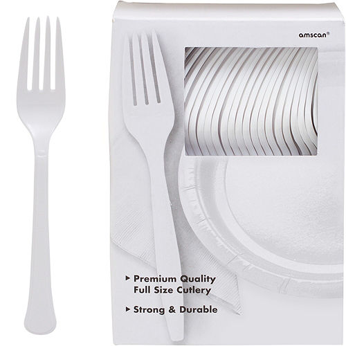Big Party Pack White Premium Plastic Forks 100ct Image #1