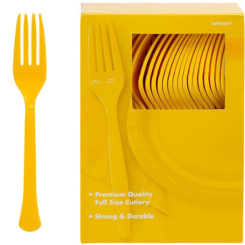 Big Party Pack Sunshine Yellow Premium Plastic Forks 100ct Image #1