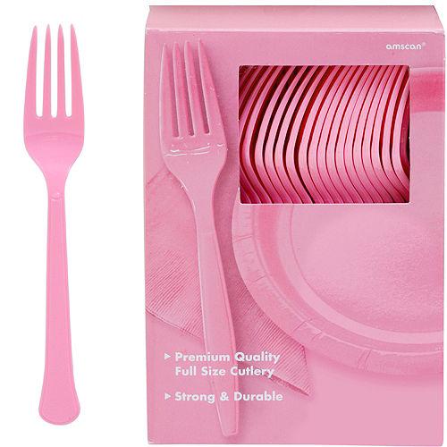 Big Party Pack Pink Premium Plastic Forks 100ct Image #1