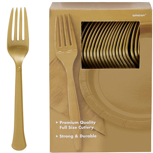 Big Party Pack Gold Premium Plastic Forks 100ct Image #1