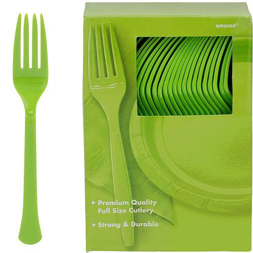 Big Party Pack Kiwi Green Premium Plastic Forks 100ct Image #1