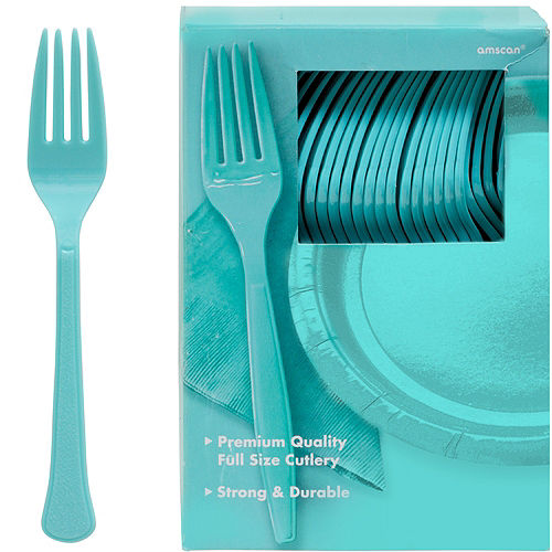 Big Party Pack Robin's Egg Blue Premium Plastic Forks 100ct Image #1
