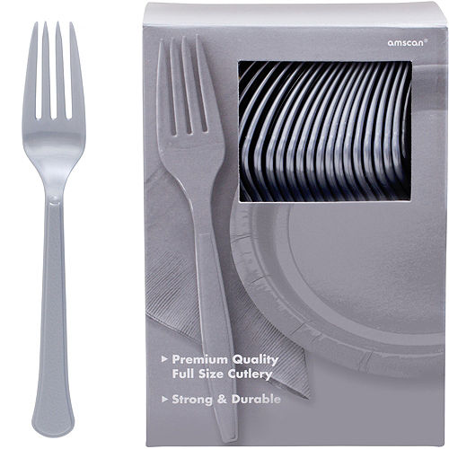 Big Party Pack Silver Premium Plastic Forks 100ct Image #1