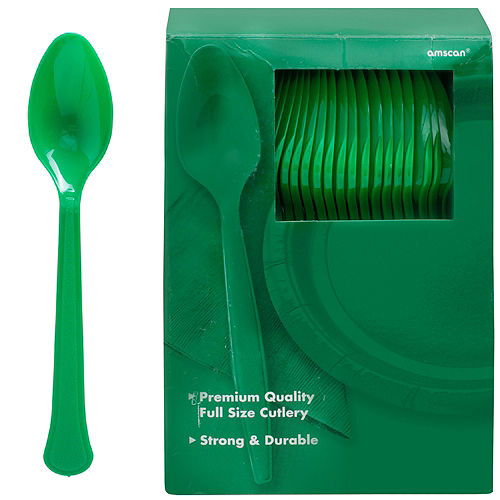 Big Party Pack Festive Green Premium Plastic Spoons 100ct Image #1