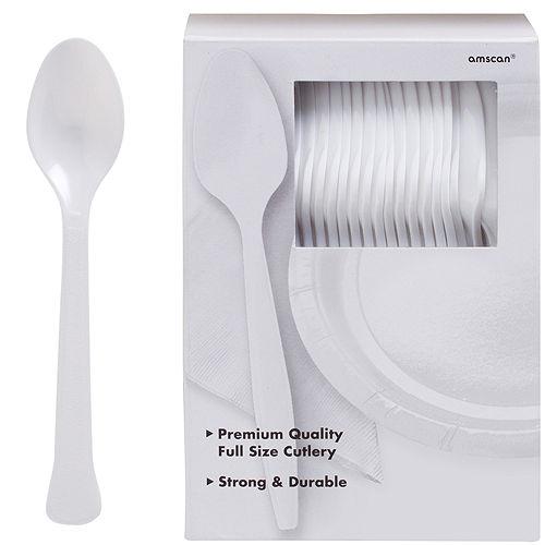 Big Party Pack White Premium Plastic Spoons 100ct Image #1
