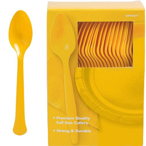 Big Party Pack Sunshine Yellow Premium Plastic Spoons 100ct Image #1