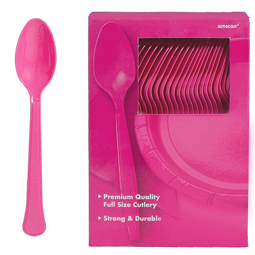 Big Party Pack Bright Pink Premium Plastic Spoons 100ct Image #1