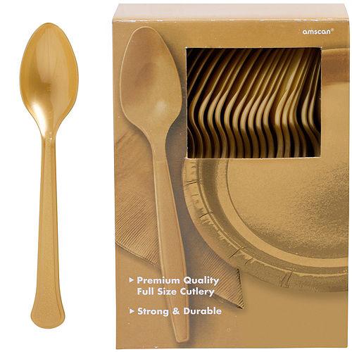 Big Party Pack Gold Premium Plastic Spoons 100ct Image #1