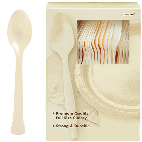 Big Party Pack Vanilla Cream Premium Plastic Spoons 100ct Image #1