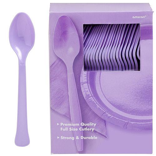 Big Party Pack Lavender Premium Plastic Spoons 100ct Image #1
