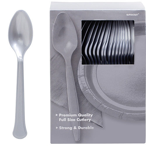 Big Party Pack Silver Premium Plastic Spoons 100ct Image #1