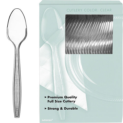 Big Party Pack CLEAR Premium Plastic Spoons 100ct Image #1