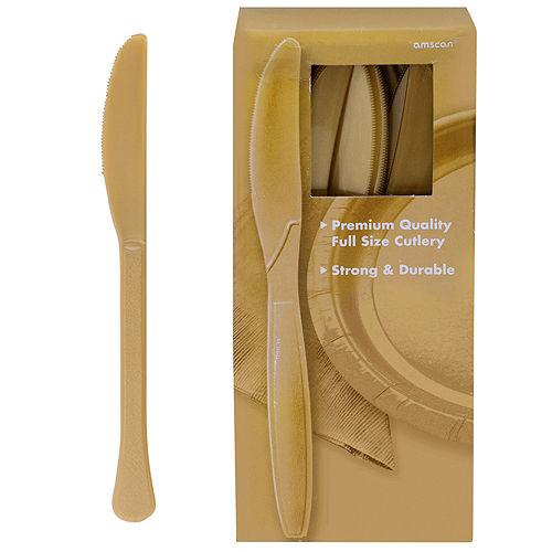 Big Party Pack Gold Premium Plastic Knives 100ct Image #1