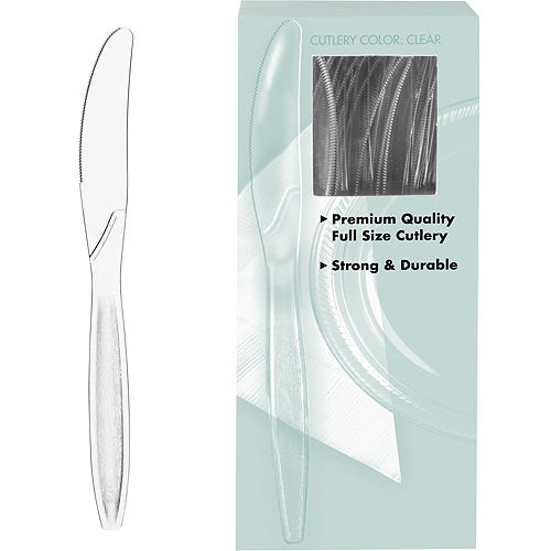 Big Party Pack CLEAR Premium Plastic Knives 100ct Image #1