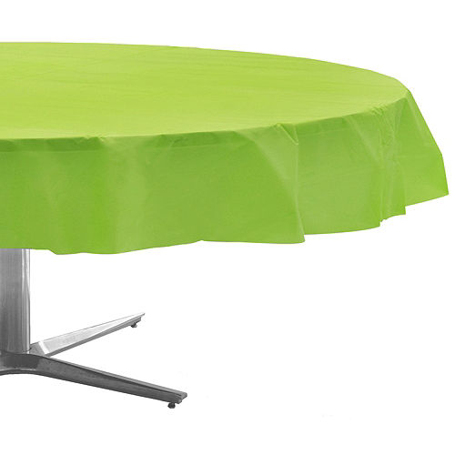 Kiwi Green Plastic Round Table Cover Image #1