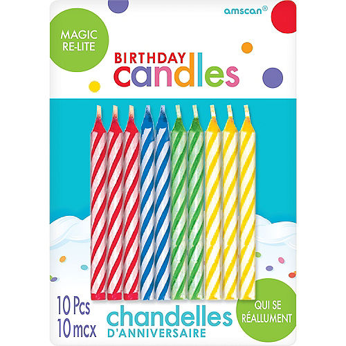 Multicolor Magic Re-Lite Spiral Birthday Candles 10ct Image #1
