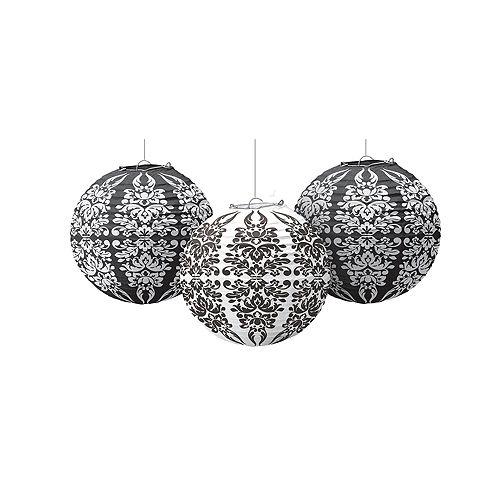 Black & White Damask Paper Lanterns 3ct Image #1