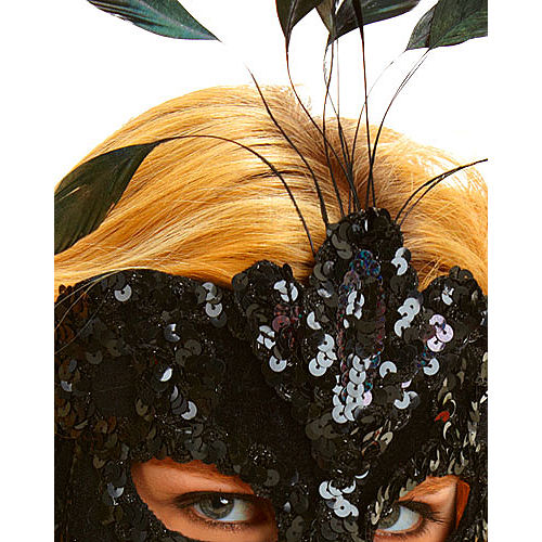 After Dark Feather Masquerade Mask Image #2