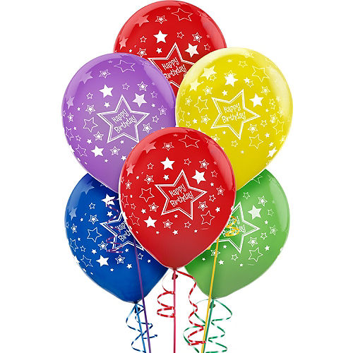 Star Birthday Balloons 20ct - Primary, 12in Image #1