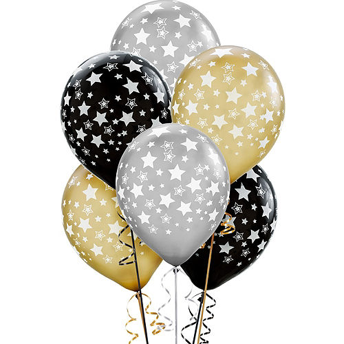 Star Balloons 20ct - Black, Gold & Silver, 12in Image #1