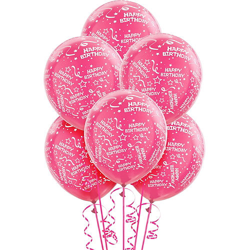Pink Birthday Balloons 6ct - Confetti, 12in Image #1