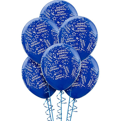 Royal Blue Birthday Balloons 6ct - Confetti, 12in Image #1