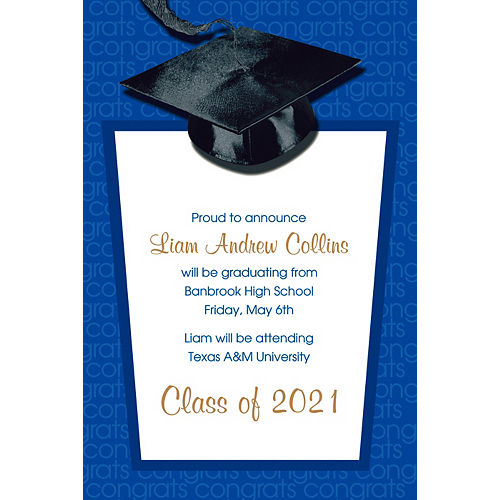 Custom Royal Blue Congrats Grad Announcements  Image #1