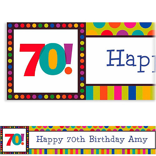 Custom Birthday Dots & Stripes 70th Banner 6ft Image #1