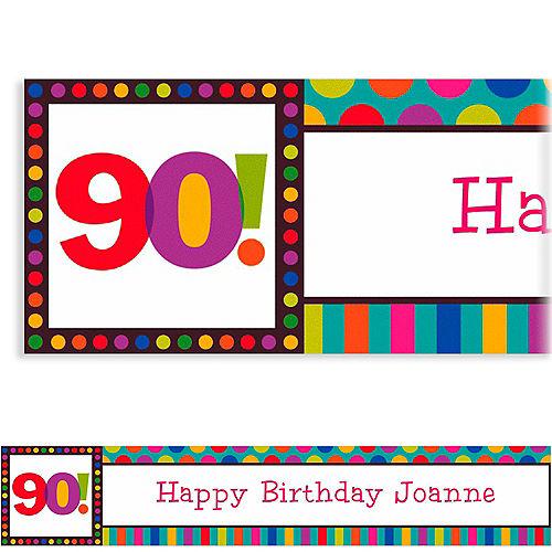 Custom Birthday Dots & Stripes 90th Banner 6ft Image #1