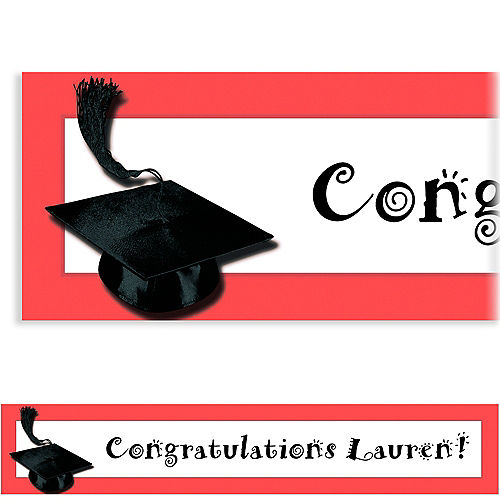 Custom Red Congrats Grad Banner 6ft    Image #1