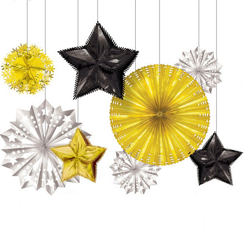 Black, Gold & Silver New Year's Starburst Decorations 8ct Image #1