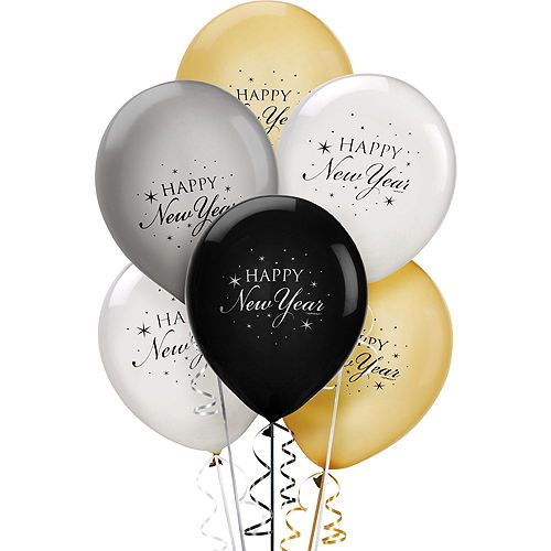 Black, Clear, Gold & Silver Happy New Year Balloons 15ct Image #1